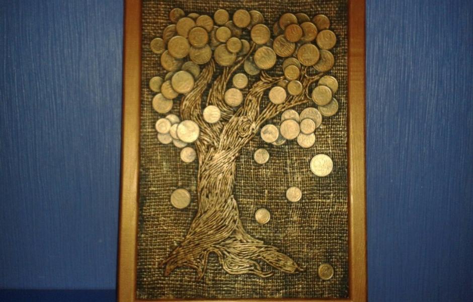 Картина денежное дерево из монет своими руками мастер 43